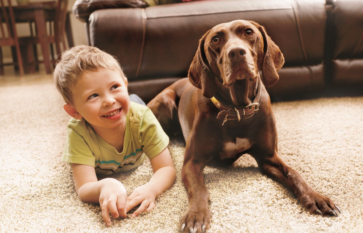 Young smiling boy laying on carpet with his dog